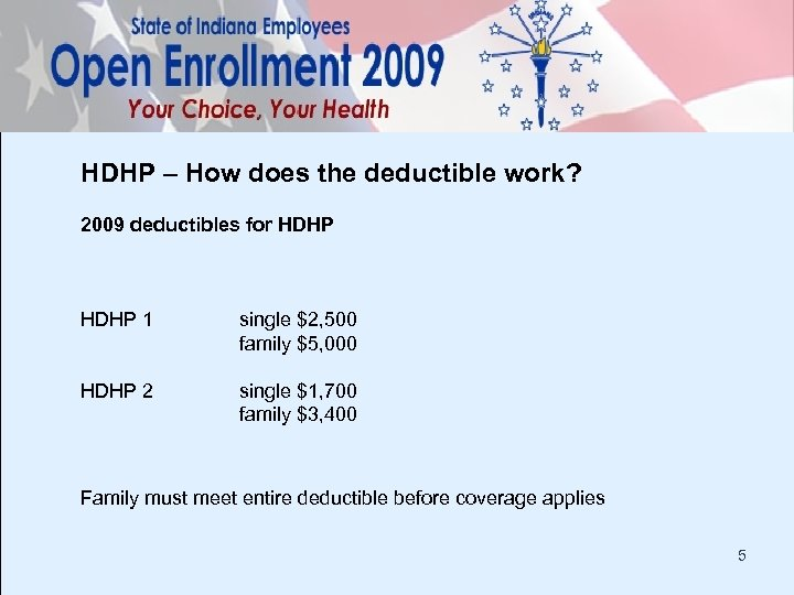 HDHP – How does the deductible work? 2009 deductibles for HDHP 1 single $2,