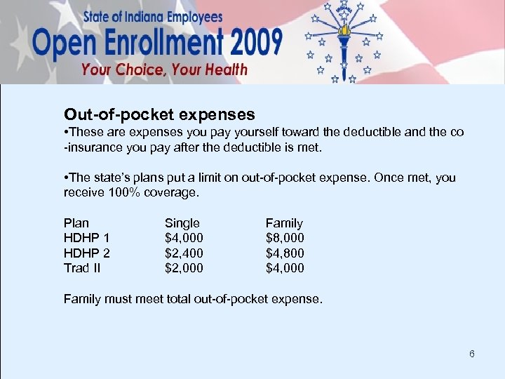 Out-of-pocket expenses • These are expenses you pay yourself toward the deductible and the