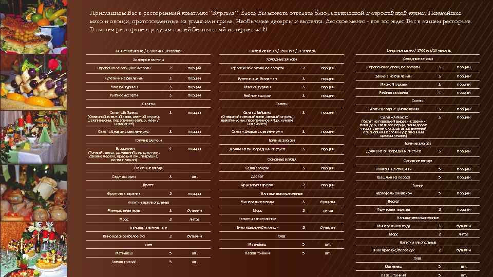"""Приглашаем Вас в ресторанный комплекс """"Кургала"""". Здесь Вы можете отведать блюда кавказской и европейской"""