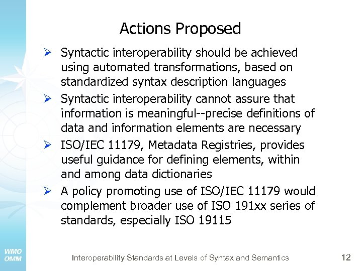 Actions Proposed Ø Syntactic interoperability should be achieved using automated transformations, based on standardized