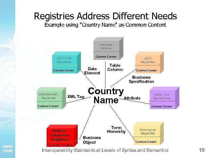 Registries Address Different Needs Example using