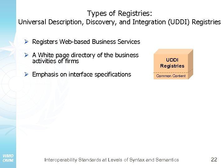 Types of Registries: Universal Description, Discovery, and Integration (UDDI) Registries Ø Registers Web-based Business