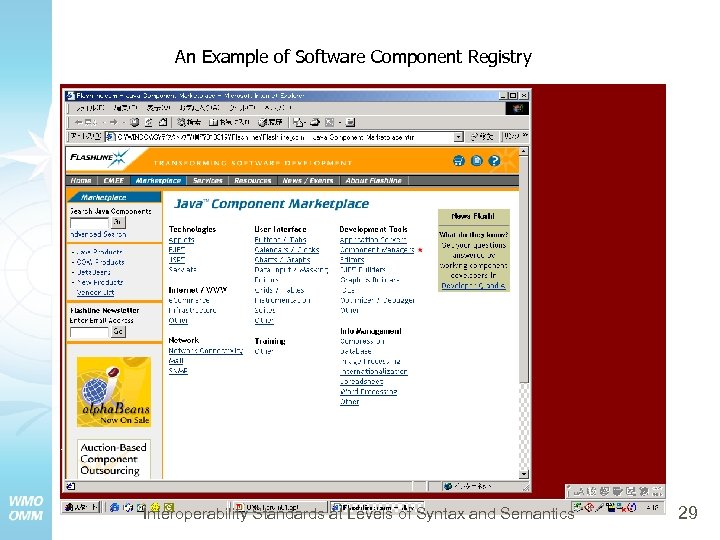 An Example of Software Component Registry Interoperability Standards at Levels of Syntax and