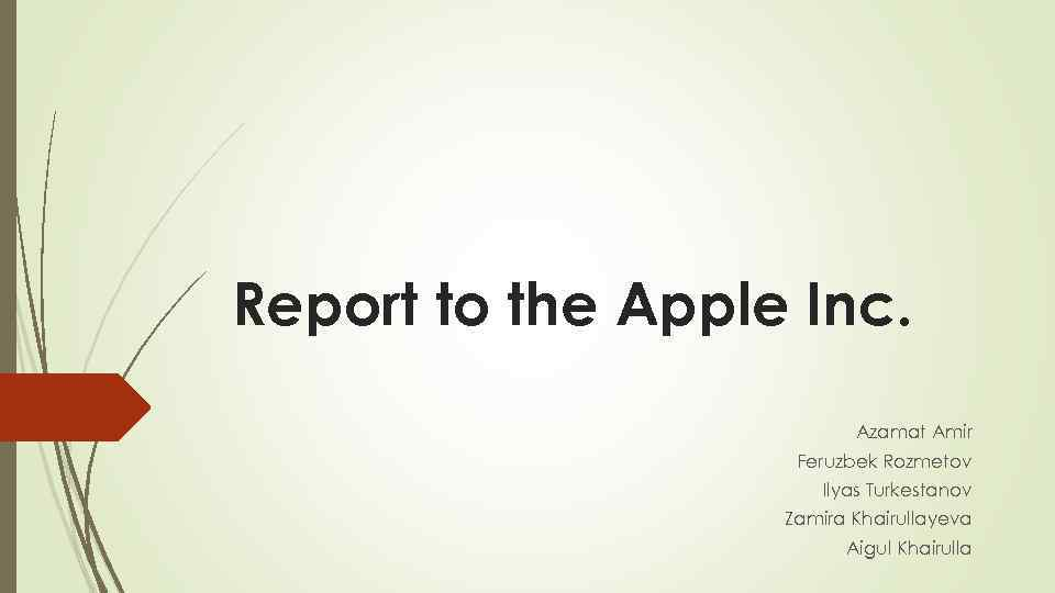 Report to the Apple Inc. Azamat Amir Feruzbek Rozmetov Ilyas Turkestanov Zamira Khairullayeva Aigul