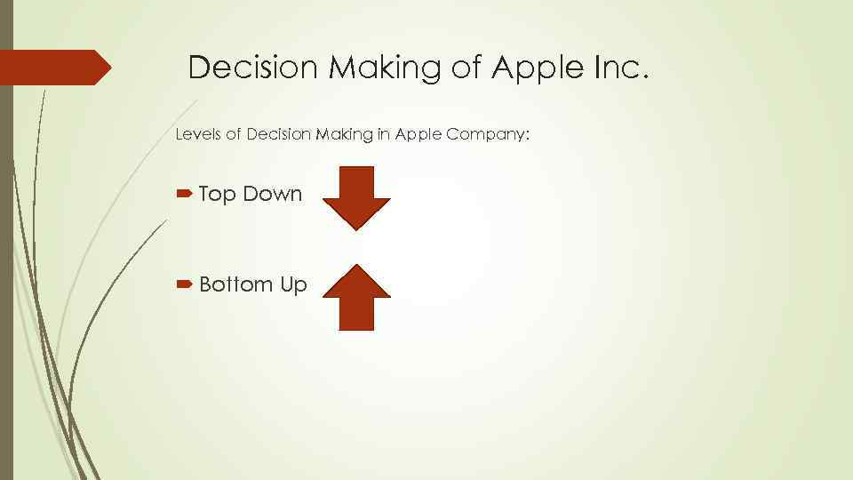 Decision Making of Apple Inc. Levels of Decision Making in Apple Company: Top Down