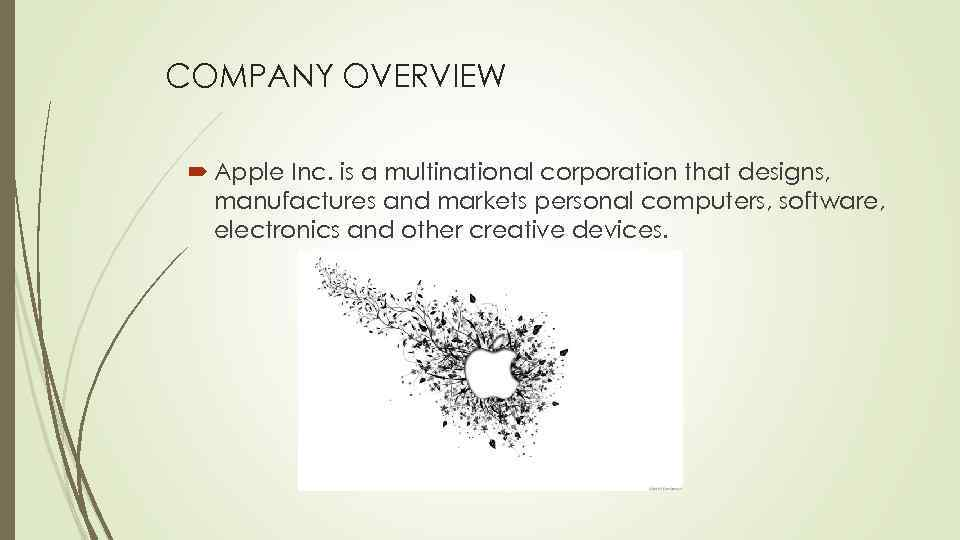 COMPANY OVERVIEW Apple Inc. is a multinational corporation that designs, manufactures and markets personal