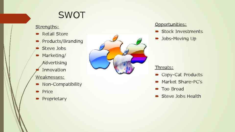 SWOT Strengths: Retail Store Products/Branding Opportunities: Stock Investments Jobs-Moving Up Steve Jobs Marketing/ Advertising
