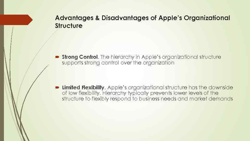 Advantages & Disadvantages of Apple's Organizational Structure Strong Control. The hierarchy in Apple's organizational