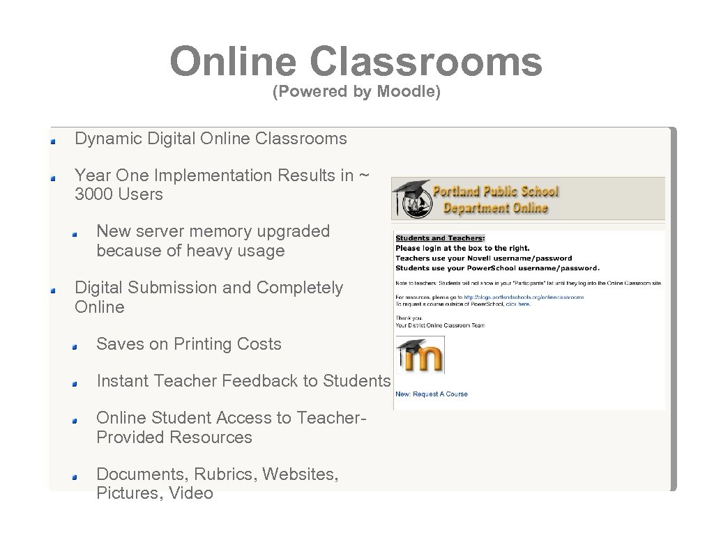 Online Classrooms (Powered by Moodle) Dynamic Digital Online Classrooms Year One Implementation Results in