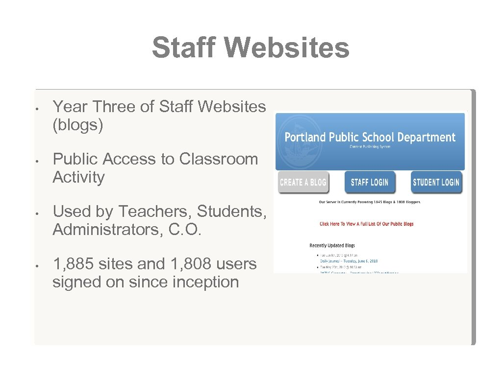 Staff Websites • • Year Three of Staff Websites (blogs) Public Access to Classroom