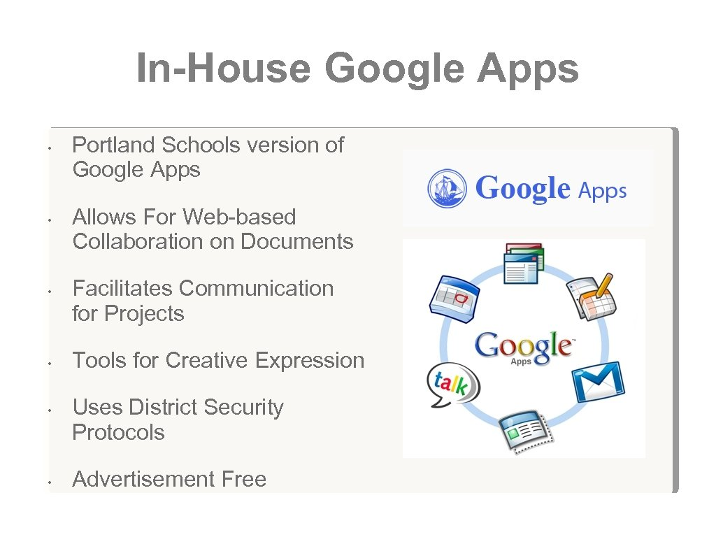 In-House Google Apps • • • Portland Schools version of Google Apps Allows For