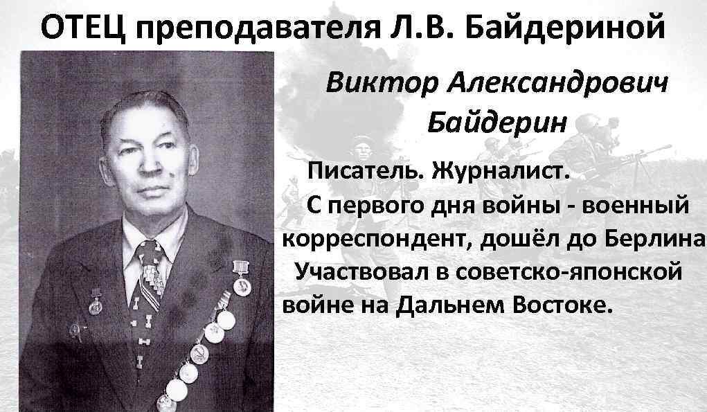 ОТЕЦ преподавателя Л. В. Байдериной Виктор Александрович Байдерин Писатель. Журналист. С первого дня войны