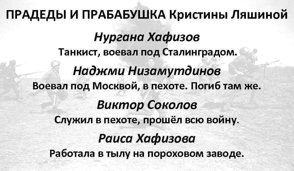 ПРАДЕДЫ И ПРАБАБУШКА Кристины Ляшиной Нургана Хафизов Танкист, воевал под Сталинградом. Наджми Низамутдинов Воевал