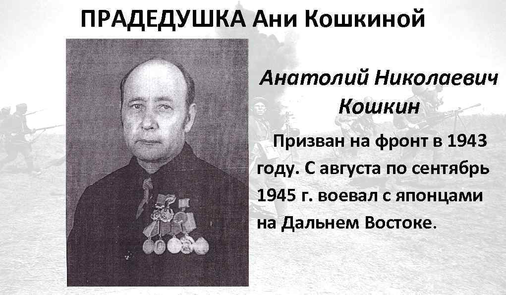ПРАДЕДУШКА Ани Кошкиной Анатолий Николаевич Кошкин Призван на фронт в 1943 году. С августа