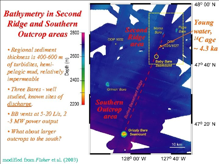 Bathymetry in Second Ridge and Southern Outcrop areas Second Ridge area • Regional sediment