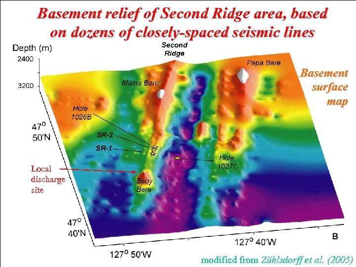 Basement relief of Second Ridge area, based on dozens of closely-spaced seismic lines Basement