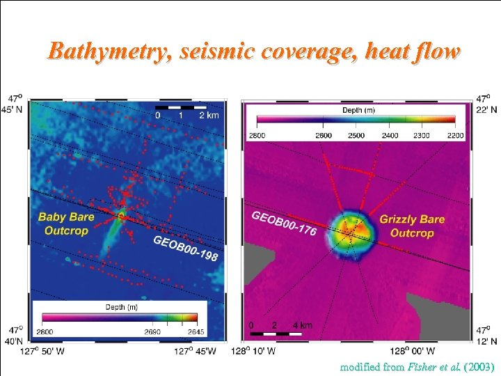 Bathymetry, seismic coverage, heat flow modified from Fisher et al. (2003)