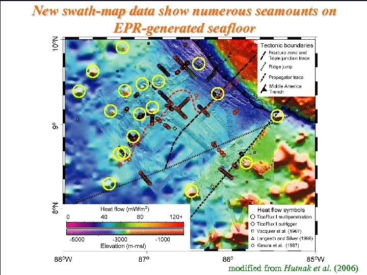 New swath-map data show numerous seamounts on EPR-generated seafloor modified from Hutnak et al.