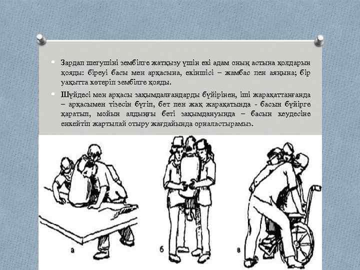 Зардап шегушіні зембілге жатқызу үшін екі адам оның астына қолдарын қояды: біреуі басы