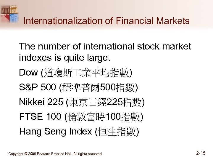 Internationalization of Financial Markets The number of international stock market indexes is quite large.