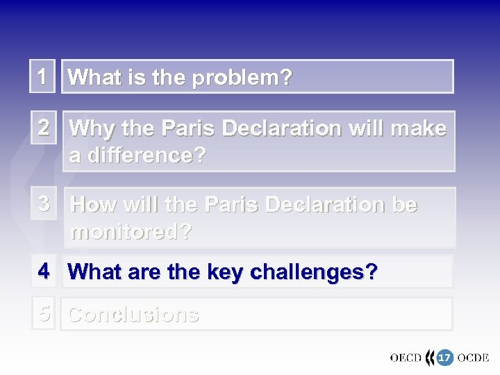 1 What is the problem? 2 Why the Paris Declaration will make a difference?