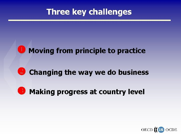 Three key challenges Moving from principle to practice Changing the way we do business