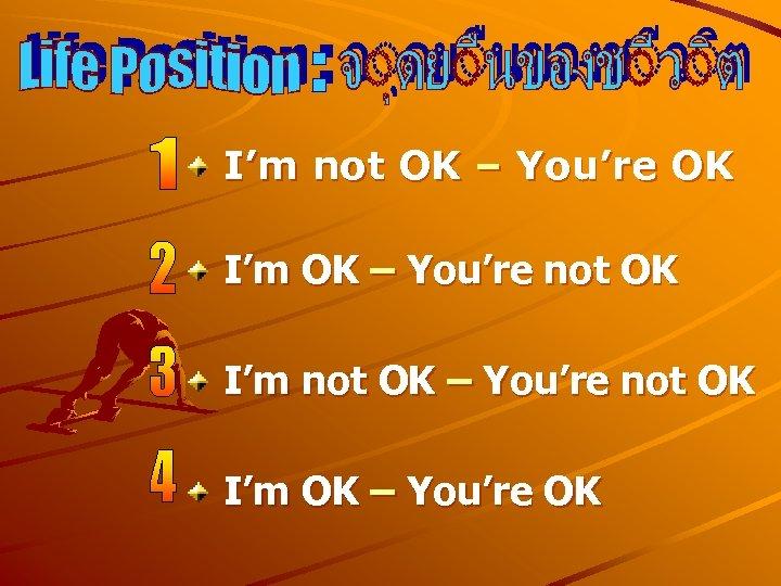 I'm not OK – You're OK I'm OK – You're not OK I'm not