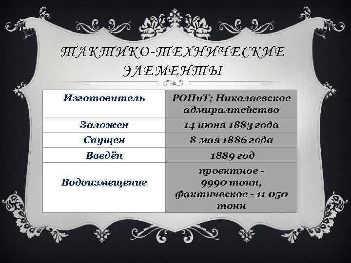 ТАКТИКО-ТЕХНИЧЕСКИЕ ЭЛЕМЕНТЫ Изготовитель РОПи. Т; Николаевское адмиралтейство Заложен 14 июня 1883 года Спущен 8