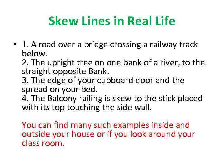 Space Geometry Skew Line Skew Lines