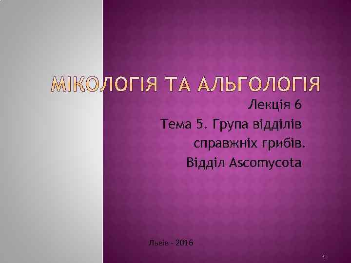 Лекція 6 Тема 5. Група відділів справжніх грибів. Відділ Ascomycota Львів - 2016 1