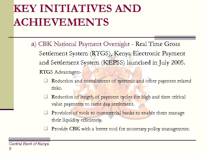 CENTRAL BANK OF KENYA PRESENTATION TO THE BOARD