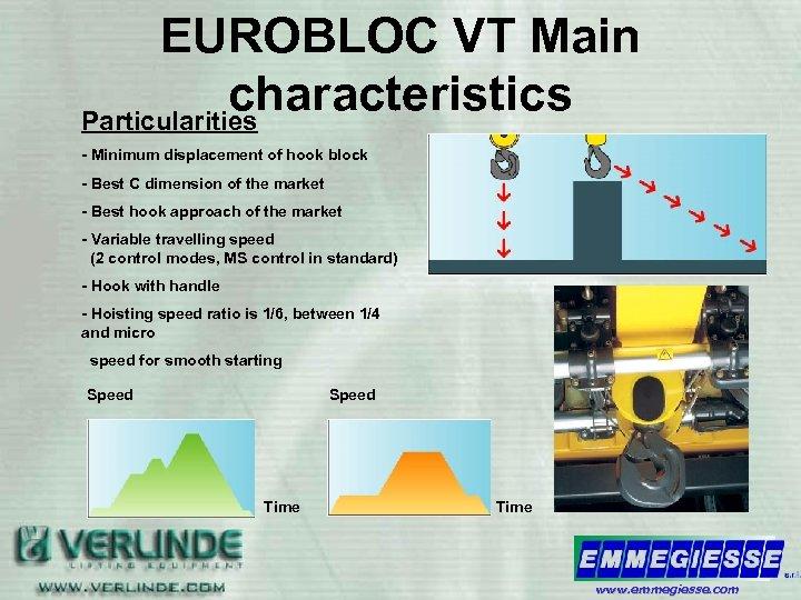 EUROBLOC VT Main characteristics Particularities - Minimum displacement of hook block - Best C