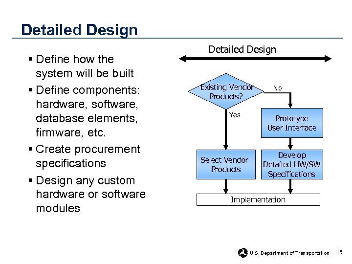 Detailed Design § Define how the system will be built § Define components: hardware,