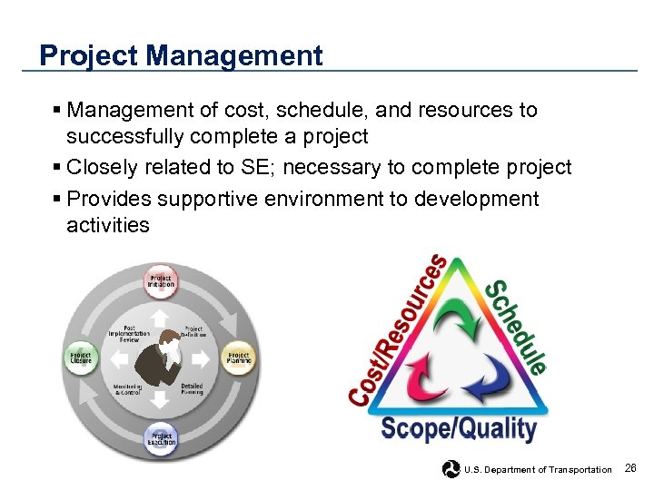 Project Management § Management of cost, schedule, and resources to successfully complete a project