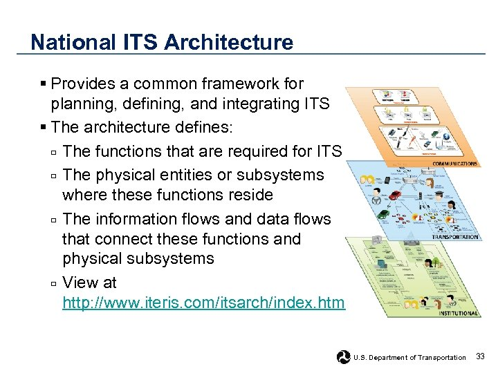 National ITS Architecture § Provides a common framework for planning, defining, and integrating ITS