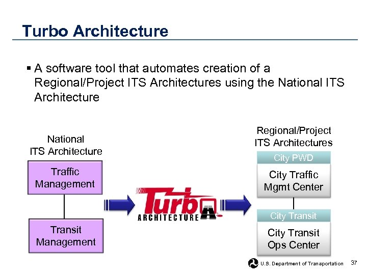 Turbo Architecture § A software tool that automates creation of a Regional/Project ITS Architectures