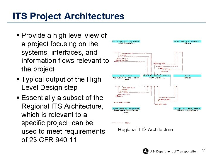 ITS Project Architectures § Provide a high level view of a project focusing on