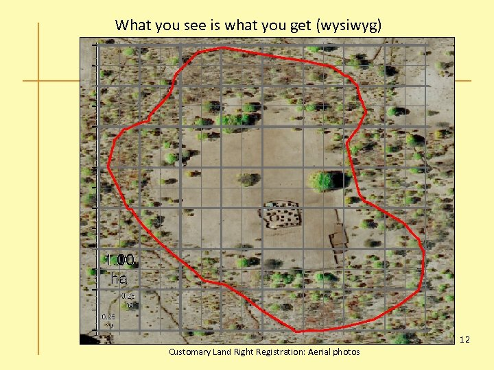 What you see is what you get (wysiwyg) 12 Customary Land Right Registration: Aerial
