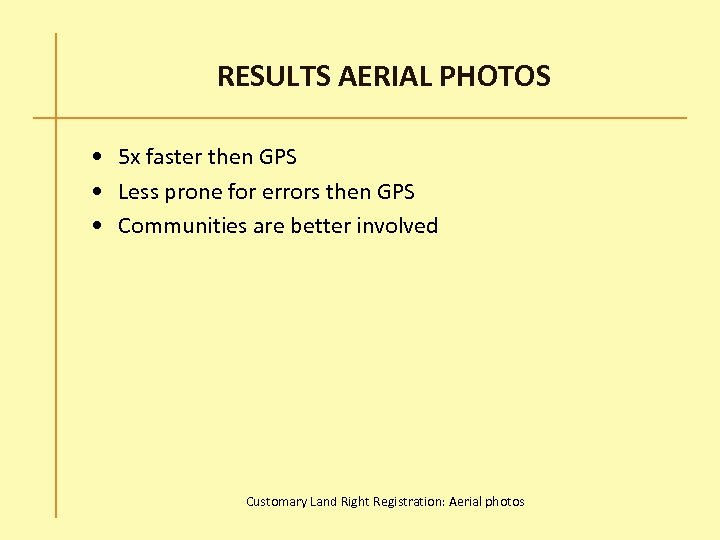 RESULTS AERIAL PHOTOS • 5 x faster then GPS • Less prone for errors