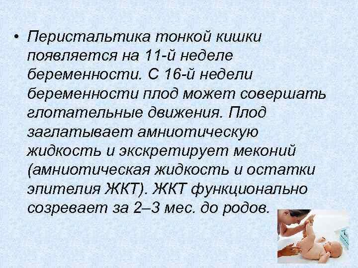 • Перистальтика тонкой кишки появляется на 11 -й неделе беременности. С 16 -й