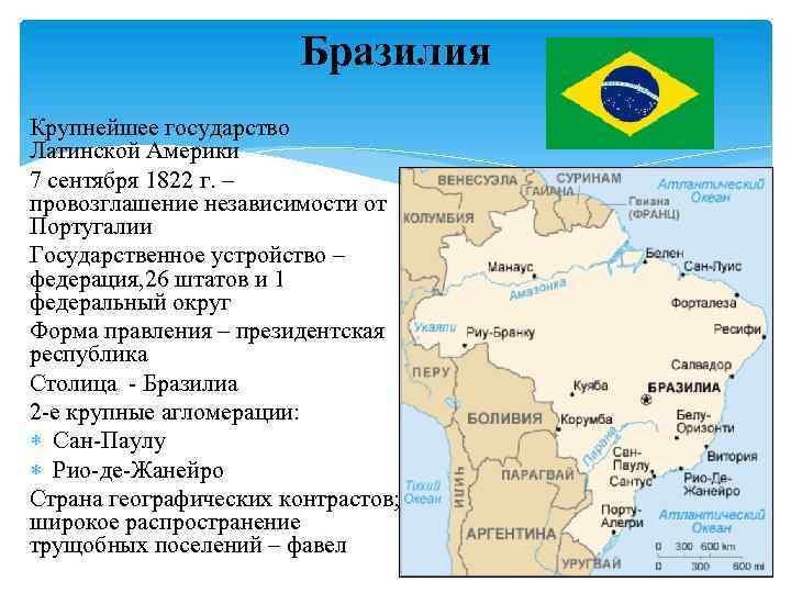 Бразилия Крупнейшее государство Латинской Америки 7 сентября 1822 г. – провозглашение независимости от Португалии