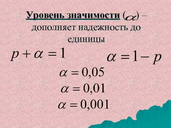 Уровень значимости ( ) – дополняет надежность до единицы