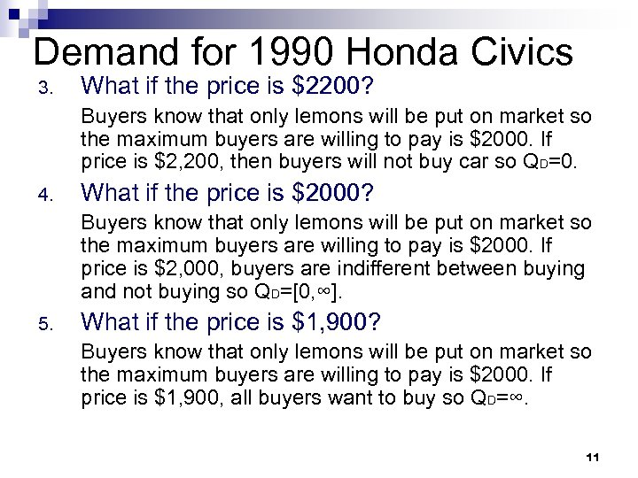 Demand for 1990 Honda Civics 3. What if the price is $2200? Buyers know