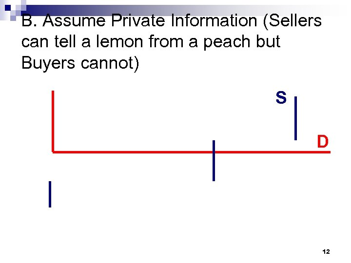 B. Assume Private Information (Sellers can tell a lemon from a peach but Buyers