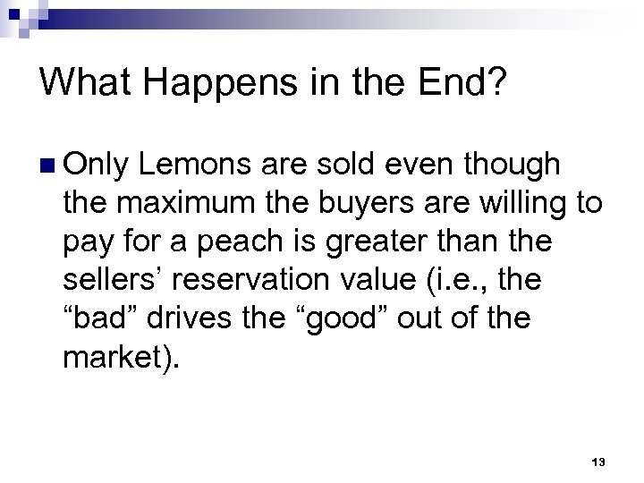 What Happens in the End? n Only Lemons are sold even though the maximum