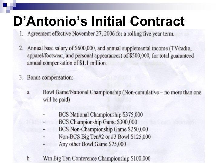 D'Antonio's Initial Contract 40