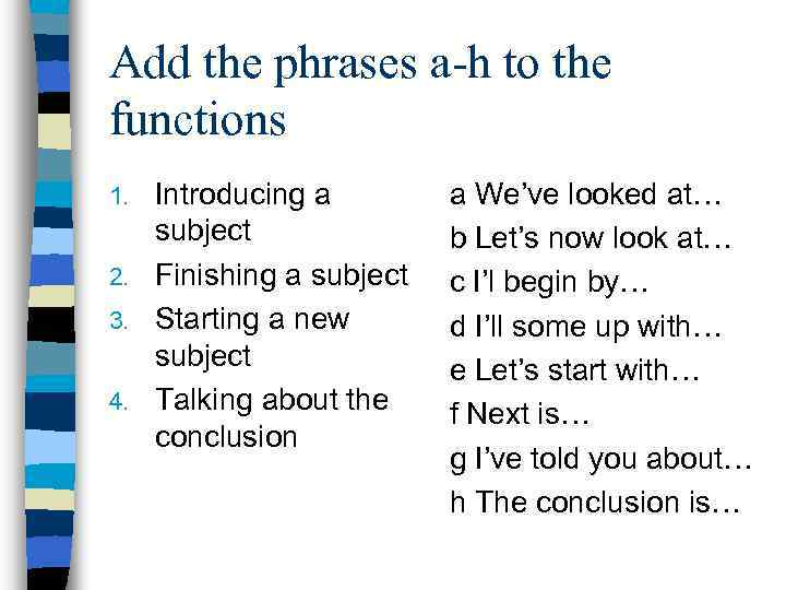 Add the phrases a-h to the functions Introducing a subject 2. Finishing a subject