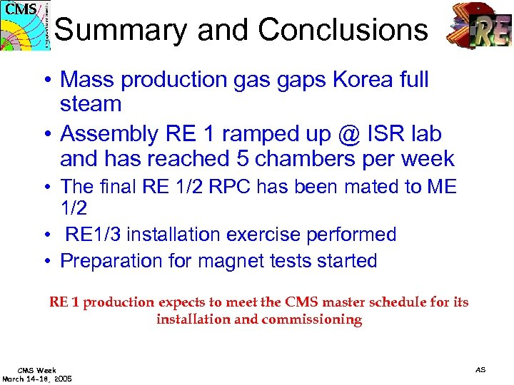 Summary and Conclusions • Mass production gas gaps Korea full steam • Assembly RE