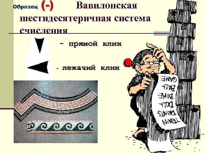 (-) Вавилонская шестидесятеричная система счисления Образец - прямой клин - лежачий клин