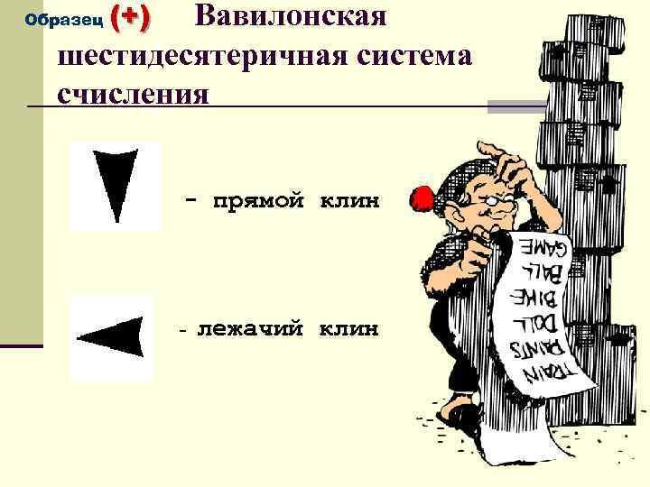(+) Вавилонская шестидесятеричная система счисления Образец - прямой клин - лежачий клин